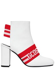 Gcds 100Mm Leather Logo Ankle Boots White Red