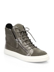 Giuseppe Zanotti Suede And Patent Leather High Top Sneakers Taupe