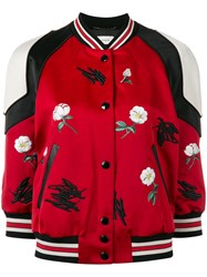 Coach 'Bobcat Rebels' Bomber Jacket Women Sheep Skin Shearling Polyamide Polyester 2 Red