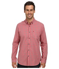 Kenneth Cole Sportswear Long Sleeve Tonal Gingham Shirt Coral Reef Men's Clothing Red
