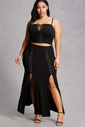 Forever 21 Plus Size Lace Up Maxi Skirt Black