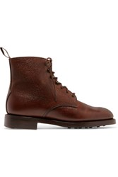 James Purdey And Sons Textured Leather Ankle Boots Brown