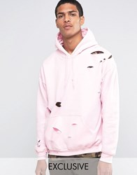 Reclaimed Vintage Oversized Hoodie With Distressing Pink
