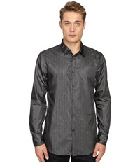 Just Cavalli Regular Fit Leather Effect Woven Shirt Black Silver