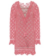 Anna Kosturova Summer Cotton Crochet Dress Pink
