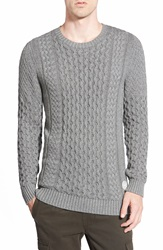 Rhythm 'Atelier' Cable Knit Cotton Sweater Grey Marle