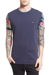 Men's Barney Cools Classic Fit Floral Sleeve T Shirt Navy