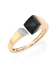 Roberto Coin Prive Pave Diamond Black Jade And 18K Rose Gold Bangle Rose Gold Jade