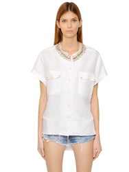 Forte Couture Embellished Cotton Short Sleeve Shirt