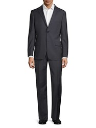 Hickey Freeman Mini Checkered Wool Suit Navy