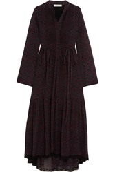 Chloe Lace Trimmed Printed Cotton And Silk Blend Crepon Dress Black