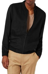 Topman Men's Faux Suede Bomber Jacket Black