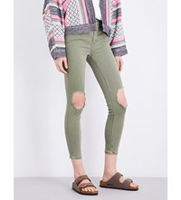 Free People Busted Skinny High Rise Jeans Moss
