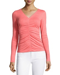 Lafayette 148 New York Center Ruched Long Sleeve Top Dragon Fruit