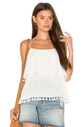 1.State Spaghetti Strap Pop Over Top With Tassels White