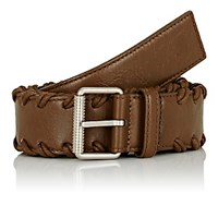 Balenciaga Men's Arena Whipstitched Leather Belt Brown Dark Green Brown Dark Green