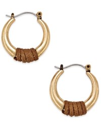 Inc International Concepts Gold Tone Faux Suede Wrapped Hoop Earrings Only At Macy's