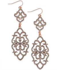 Bar Iii Rose Gold Tone Pave Filigree Drop Earrings Only At Macy's