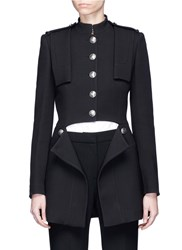 Alexander Mcqueen Split Waist Wool Silk Coat Black