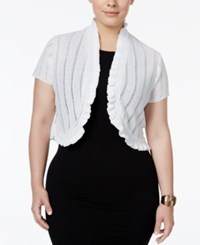 Ny Collection Plus Size Ruffled Pointelle Bolero White