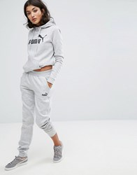 Puma Classic Logo Sweatpants In Grey Light Grey Heather