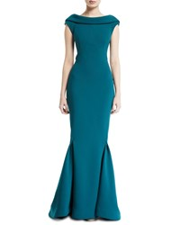 Zac Posen Cowl Back Bonded Crepe Gown Teal
