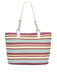 Saks Fifth Avenue Chain Detail Striped Straw Tote Turquoise Multi