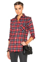 R 13 R13 Inside Out Slim Boy Shirt In Red Checkered And Plaid Red Checkered And Plaid