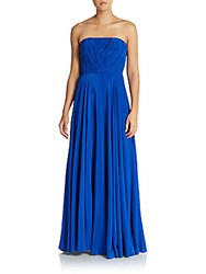 Milly Monica Strapless Silk Crepe Gown Cobalt Blue