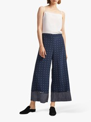 French Connection Catalina Culotte Trousers Indigo Classic Cream