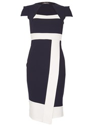 Feverfish Asymmetric Contrast Scuba Dress Navy