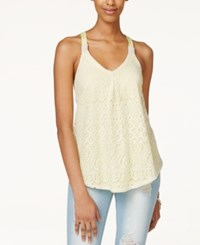 Jolt Juniors' Crocheted Tank Top Electric Yellow