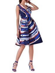 Closet Full Skirt Printed Dress Blue Multi
