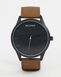 Bellfield Black Dial Watch With Tan Strap