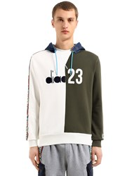 Diadora Lc23 Color Block Twill Sweatshirt White Green