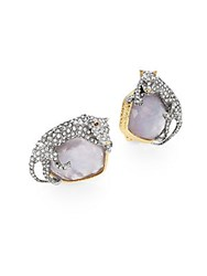 Alexis Bittar Elements Swarovski Crystal Mother Of Pearl And Iolite Crystal Doublet Panther Clip On Earrings Gold Multi