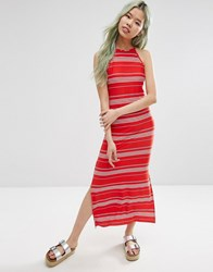 Asos High Neck Maxi Dress In Stripe Red