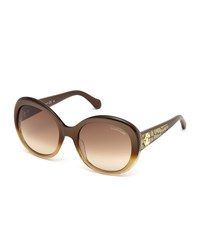 Roberto Cavalli Tejat Gradient Round Sunglasses Brown