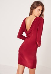 Missguided Cowl Back Slinky Bodycon Dress Burgundy Burgundy