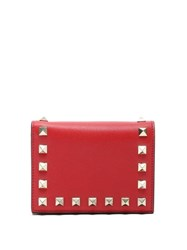 Valentino Rockstud Leather Wallet Red