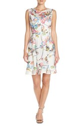 Women's Gabby Skye Floral Scuba Mesh Fit And Flare Dress