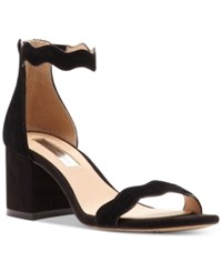 Inc International Concepts Hadwin Scallop Block Heel Sandals Only At Macy's Women's Shoes Black Suede