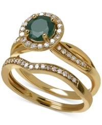 Macy's Emerald 4 5 Ct. T.W. And Diamond 1 3 Ct. T.W. Bridal Set In 14K Gold Green