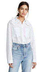 Michaela Buerger Ruffle Trim Collared Button Down Shirt White