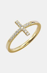 Women's Bony Levy Stackable Diamond Cross Ring Yellow Gold Nordstrom Exclusive