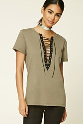 Forever 21 Boxy Lace Up Top