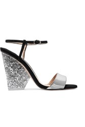 Paul Andrew Edie Parker Metallic Leather And Suede Sandals Silver