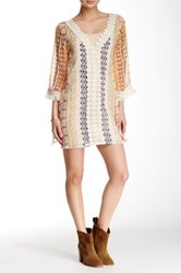 En Creme 3 4 Length Sleeve Fringe Trim Short Dress Multi