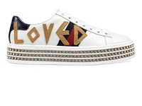 Gucci Women's New Ace Leather Platform Sneakers White