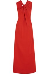 Lanvin Twist Front Stretch Crepe Gown Brick